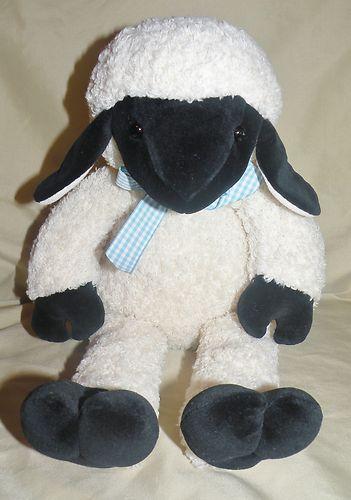 Lida Lamb Manhattan Toy Co Black White Stuffed Animal Plush 1998 Gingham Bow $49.99 free shipping!
