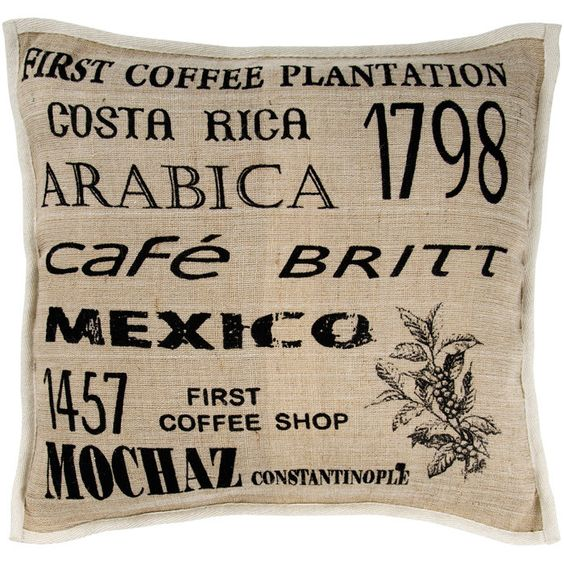 Black and Beige Jute and Cotton Pillow