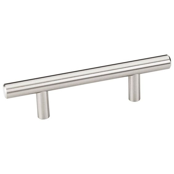This satin nickel finish standard size cabinet bar pull with beveled edge design is a part of the Naples Series from the Elements Collection by Hardware Resources and is perfect for use on cabinet doors and drawers capable of accepting a mounted pull.
