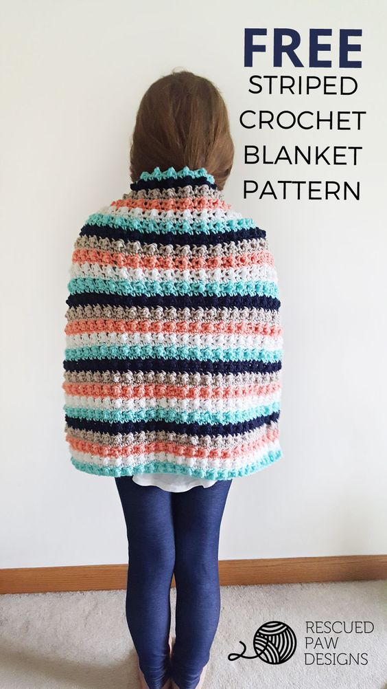 Ever So Striped Crochet Baby Blanket Pattern by Rescued Paw Designs | Click to Read or Pin and Save for Later!: