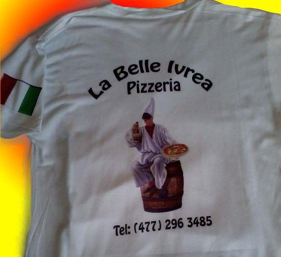 Playeras sublimadas para negocio La Bella Ivrea. Sublimado y personalización S&P. Contacto: 55 5560 9088