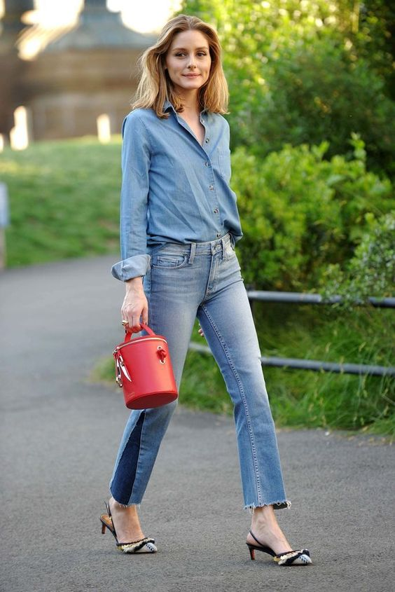 Olivia Palermo double denim, denim shirt, jeans, canadian tuxedo, fancy shoes, re-fashioned jeans