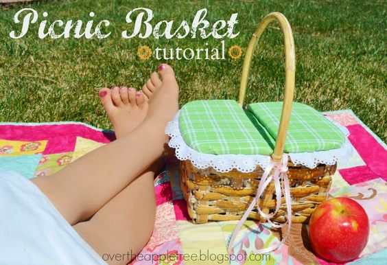 How to turn any basket into a Picnic Basket, such a great idea! Picnic Basket Tutorial, Over The Apple Tree