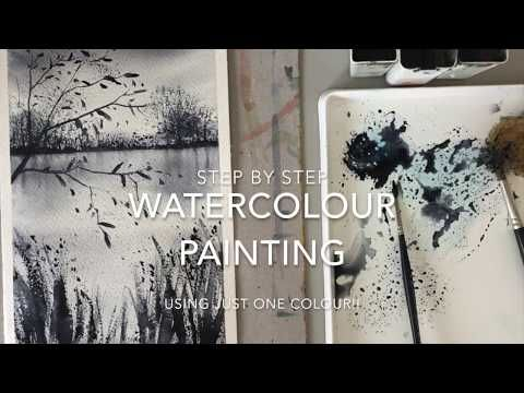 Easy Watercolour Painting Using One Colour Paynes Grey Youtube