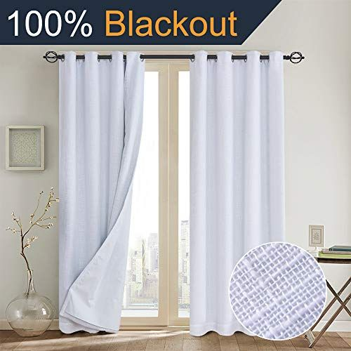 Primitive Linen Look 100 Blackout Curtain With Liner Whi