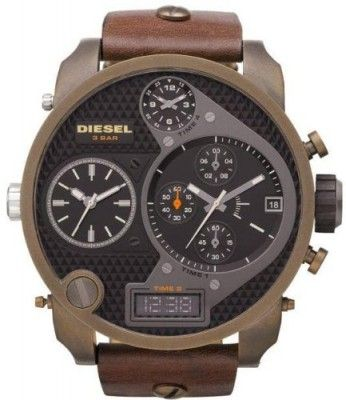 Relógio Men Diesel DZ7246 Stainless Steel Case Black Dial Chronograph Brown Leather Str #Relogios #Diesel