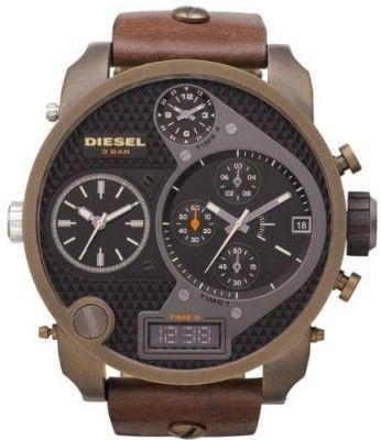 Relógio Men Diesel DZ7246 Stainless Steel Case Black Dial Chronograph Brown Leather Str #Relogios #Diesel