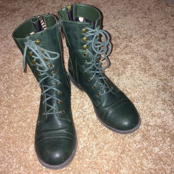 Dark green combat boots | Combat boots, Boots and Green