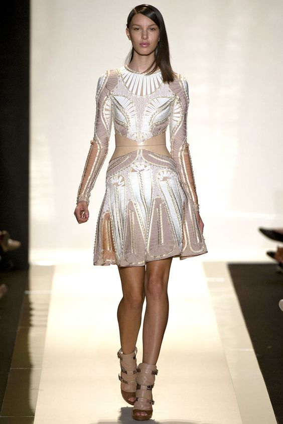 taupe gold white embroidered dress - hervé léger by max azria - spring 2013 rtw #nyfw