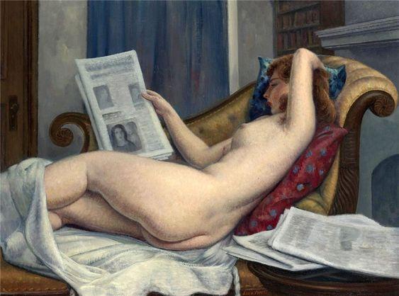 Nude reading, Leon Kroll. American (1884 - 1974):