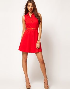$43.49 ASOS Shirt Dress With Collar offered in red or white 100% cotton - cute for summer outside parties - memorial day or the 4th of July (may 2012)