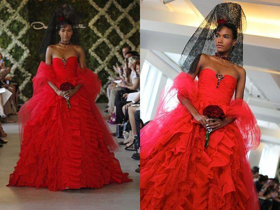 Oscar de la renta red wedding dress