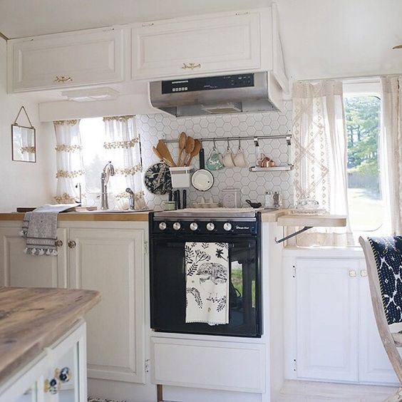 Cute curtains, Butcher block counters and Campers on Pinterest