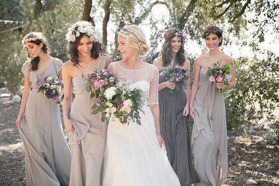 Boho vibes! Charcoal and dove grey #bridesmaids // Vintage Glam: #Bridesmaid Dresses by Jenny Yoo #gray