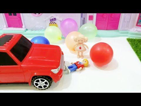 سارة وعز بيلعبوا بالبالونات والعربية خبطتهم عائلة عمر جنه ورؤى قصص اطفال العاب شفا Youtube Toy Car Toys