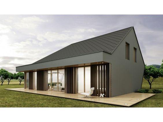 Fertighaus modern satteldach  Pure BBx - #Einfamilienhaus von BlackLine | HausXXL #Fertighaus ...