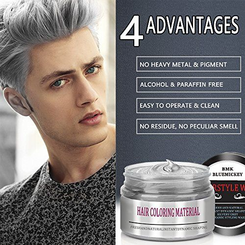 Bmk Silver Gray Color Hair Wax Temporary Silver Ash Wax Hairstyle Hair Dye Wax For Party Cosplay Nightclub Masquerad Hair Wax Hair Color Temporary Hair Dye