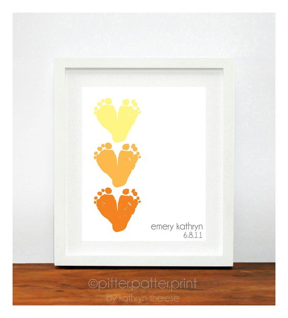 Baby Footprint Hearts Personalized Baby Gift by PitterPatterPrint