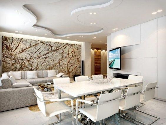 Wohnzimmer mit Essbereich in Weiß und Grau und kreative - kreative wandgestaltung wohnzimmer