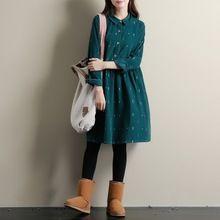 Autumn Dresses Green Color Long Sleeve Casual Loose Plus Size Dresses Turn Down Collar Corduroy Cotton Dress A Line Lolita Dress(China (Mainland))