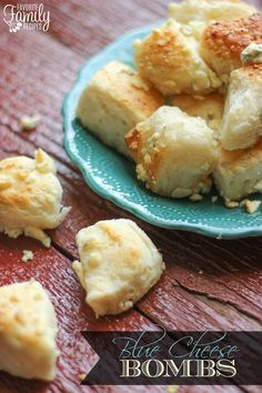 Only 3 ingredients and 15 minutes to make these delicious Blue Cheese Bombs for an easy appetizer, side to soup or salad, or late night treat. Find all our yummy pins at www.pinterest.com...