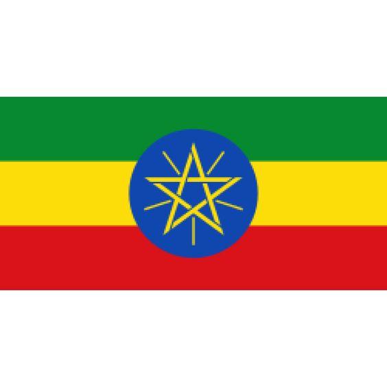 vlag Ethiopië, Ethiopische vlaggen 100x150cm De huidige vlag van Ethiopië werd aangenomen op 6 februari 1996 en verving toen de oude vlag met dezelfde kleuren, maar dan zonder de blauwe schijf en het embleem. Veel inwoners erkennen het symbool niet.  De vlag heeft meer dan duizend jaar geschiedenis achter zich. Zij staat aan de basis van de Pan-Afrikaanse kleuren.