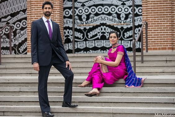 indian wedding bride and groom portrait outside stairs http://maharaniweddings.com/gallery/photo/10552
