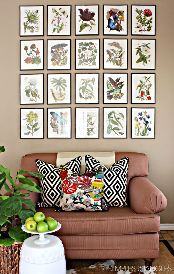 Botanical Gallery Wall, inexpensive art using pages from a book, poste rboard mats, and craft store frames