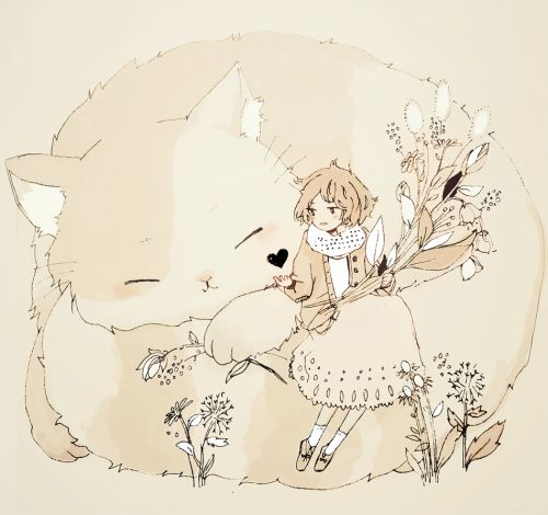 tofuvi:  a girl and her cat.
