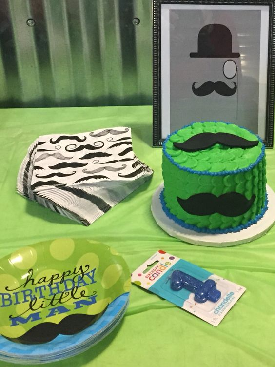 Made a Mustache Smash Cake for a sweet boy turning one Fatboys