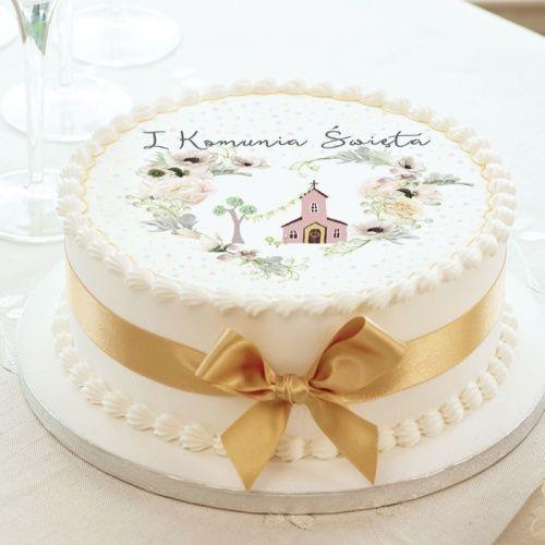 Oplatek Na Tort Komunijny Uniwersalny O 20 Sakramento Cake Desserts Beautiful Cakes Desserts