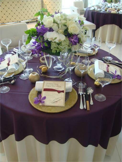 紫×白×グリーン  【画像集】クロスと装花はどう組み合わせる
