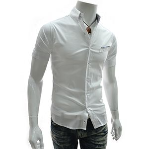(AL219-WHITE) Slim Fit Checker Patched Stretchy Short Sleeve Shirts