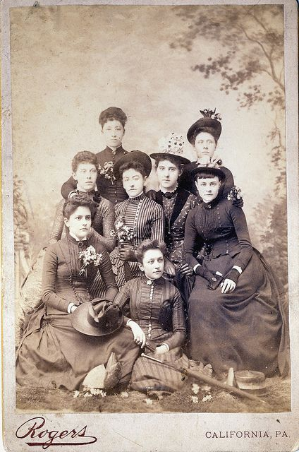 A groups of young Victorian women (friends, cousins, classmates, church members?) pose for a lovely springtime portrait, complete with darling little nosegays of fresh blooms. #flowers #Victorian #vintage #19th_century #women #dress #costume #1800s: