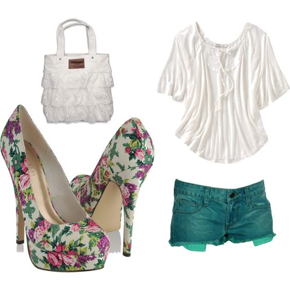 Bold Floral Statement Heels. (without the purse)