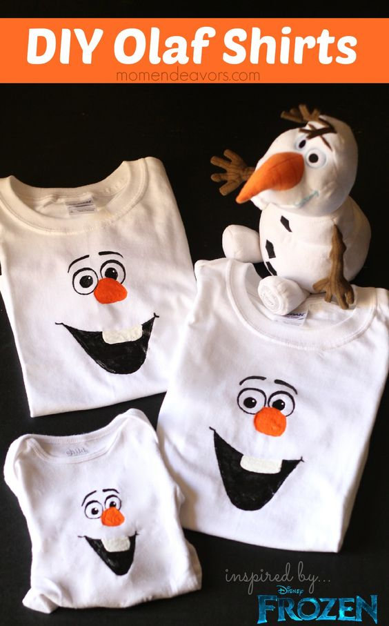 Great idea for a fun themed birthday party! DIY Olaf Shirts - with FREE template via momendeavors.com #disney #FROZEN @momendeavors
