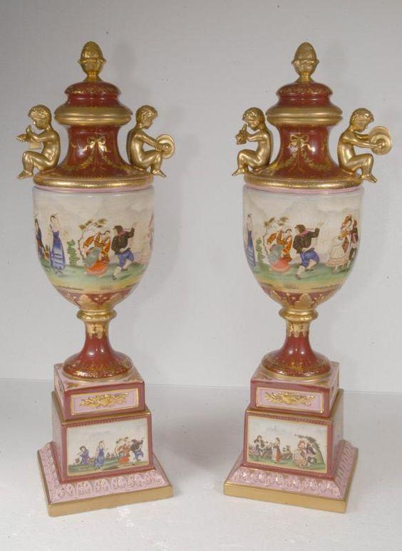 Large German Porcelain Cherub Urns Dresden Vase Porcelain