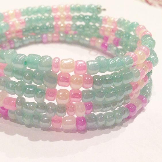 Easter colours pink, purple and mint pastel bracelet.  All you have to do is provide a place to bead, we bring the beading party to you, we bring the beading supplies, the instructors and the fun.   We specialize in children's birthday beading parties, but can customize our bead party to any event and/or occasion such as Bat Mitzvahs, corporate events, summer camps, school workshops, Girl Guides of Canada, wedding/bridal showers, bachelorette parties or a girl's night out!   We cater to ages…