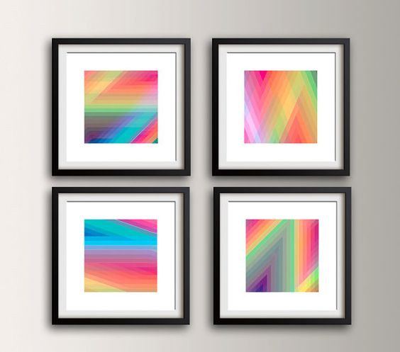 Wall Art Group Set of 4 Square Prints Zig by TheModernArtShop