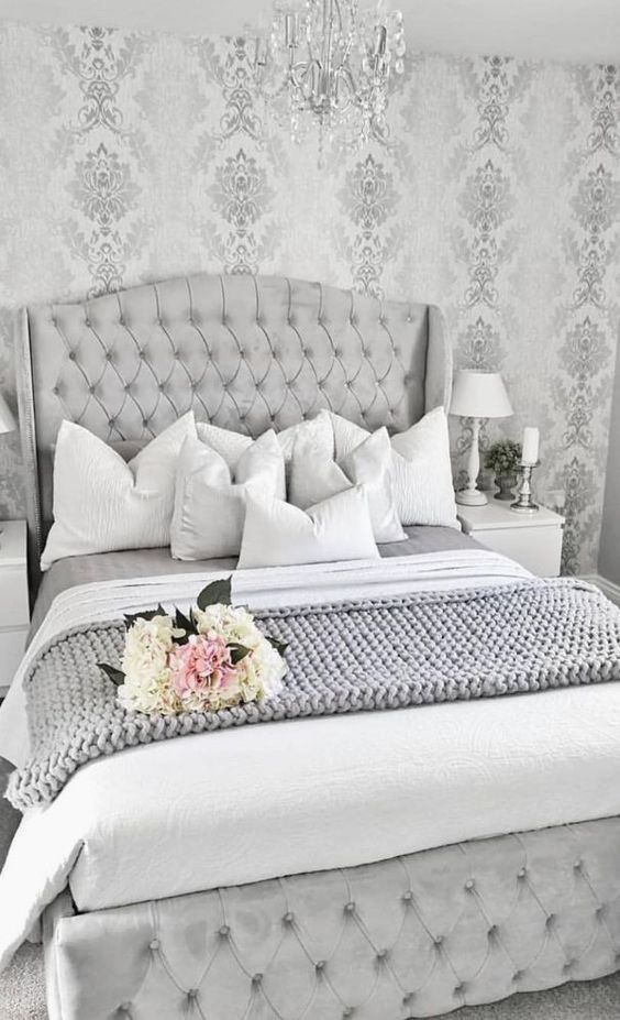 29 Luxury Bedroom Wallpaper Ideas In 2020 Grey Bedroom Design Silver Bedroom Silver And Grey Bedroom