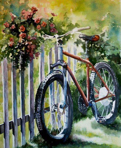 Fiets tegen een hek - watercolor