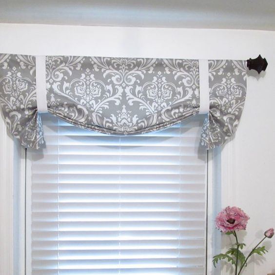 Tie Up Curtain Valance Gray White Damask HANDMADE In The USA By Supplierofdreams On Etsy Kitchen And Dining Room