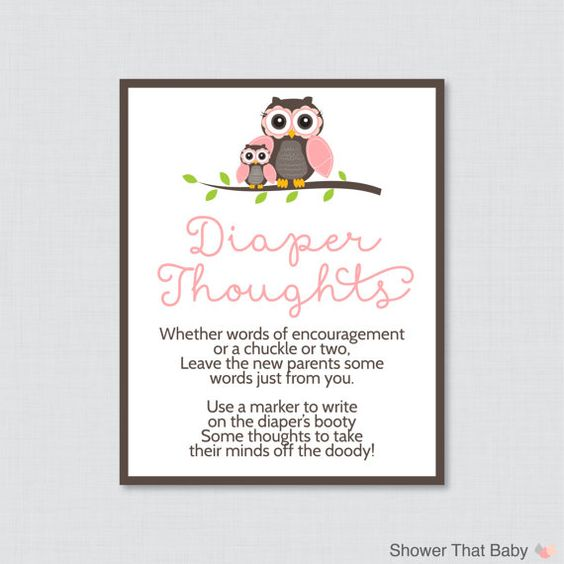Owl Baby Shower Diaper Thoughts Game Baby Shower