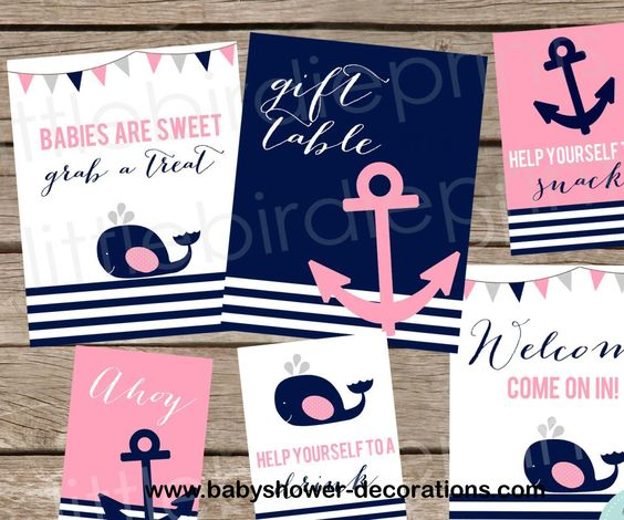 NAUTICAL Baby shower Decorations signs Girl Pink Whale Anchor Baby shower printables - http://www.babyshower-decorations.com/nautical-baby-shower-decorations-signs-girl-pink-whale-anchor-baby-shower-printables.html