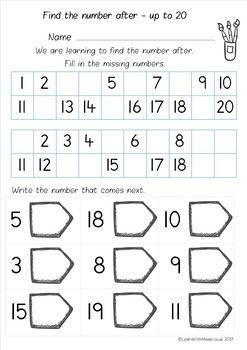 Number After To 10 20 And 50 Worksheet Pack Preschool Counting Worksheets Kindergarten Math Worksheets Free Preschool Math Numbers Math worksheets counting to 50