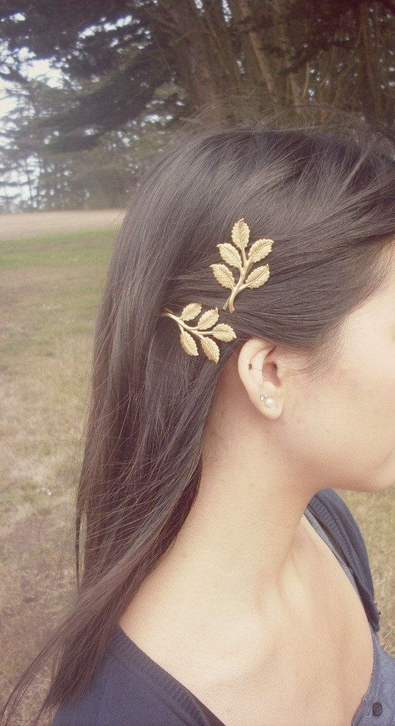 Hair Accessories Gold Leaf Bobby Pins Branch by dreamsbythesea
