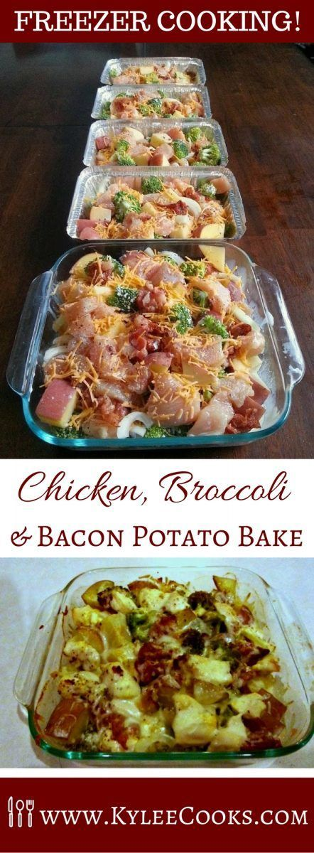 Chicken, Broccoli, Bacon & Potato Bake Freezer Meal Recipe via Kylee Cooks - A tasty meal that is easy to double, triple or quadruple, so you have plenty of freezer meals when you need one! And it has bacon!