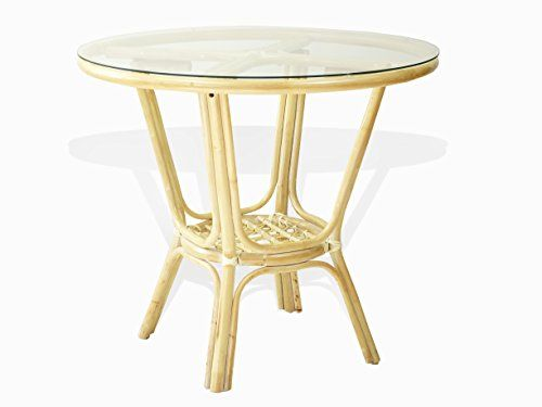 Pelangi Rattan Wicker Round Dining Table Glass Top White Wash