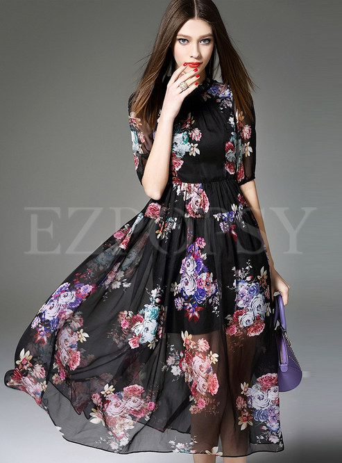 Short Sleeve Print Chiffon Dress