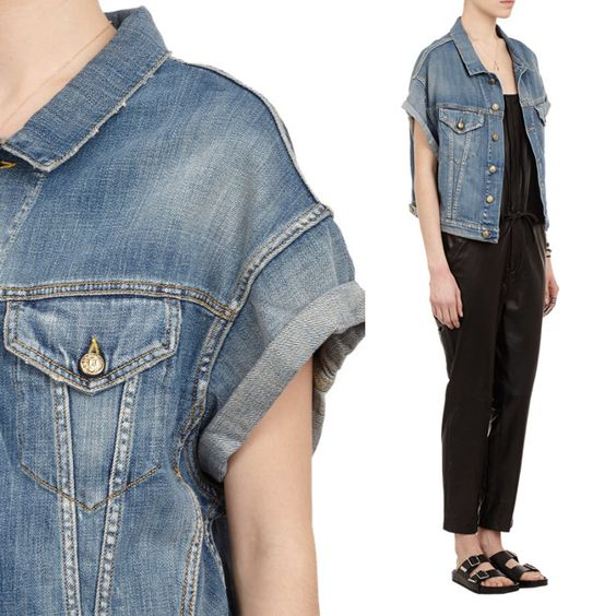 Roll-Sleeve Jeans Vest
